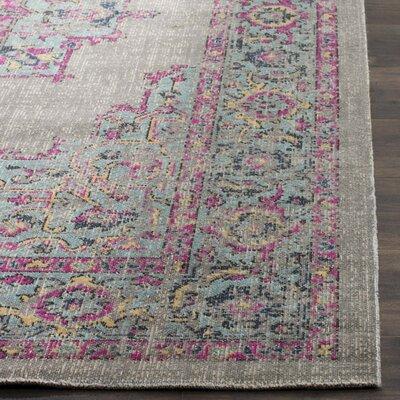 Bunn Gray/Light blue/Pink Area Rug Rug Size: 51 x 76