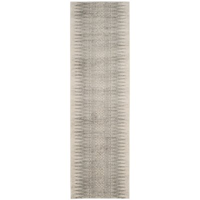 Elson Rectangle Ivory/Silver Area Rug Rug Size: Runner 22 x 11