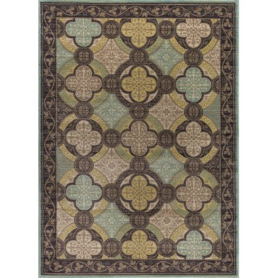 Juliet Brown/Green Area Rug Rug Size: 53 x 73