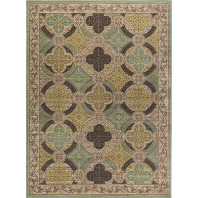 Juliet Ivory/Green Area Rug Rug Size: Rectangle 8 x 10