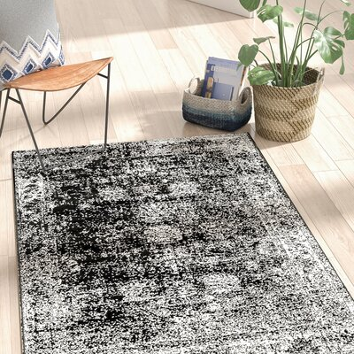 Brandt Black/White Area Rug Rug Size: 4 x 6