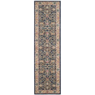 Grieve Navy/Cream Area Rug Rug Size: Runner 23 x 8