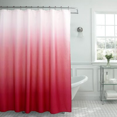 Charlesworth Waffle Fabric Weave Shower Curtain Color: Cherry
