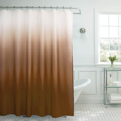 Charlesworth Waffle Fabric Weave Shower Curtain Color: Chocolate