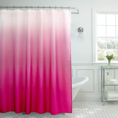 Charlesworth Waffle Fabric Weave Shower Curtain Color: Fuchsia