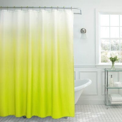 Charlesworth Waffle Fabric Weave Shower Curtain Color: Lime