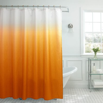 Charlesworth Waffle Fabric Weave Shower Curtain Color: Orange