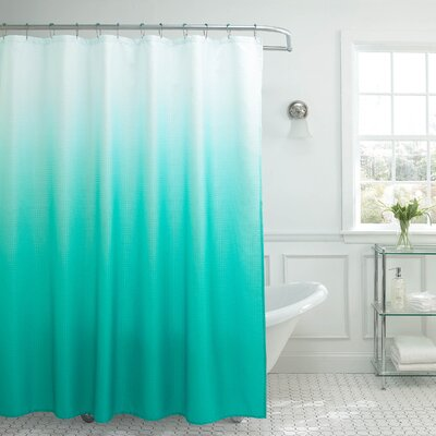 Charlesworth Waffle Fabric Weave Shower Curtain Color: Turquoise