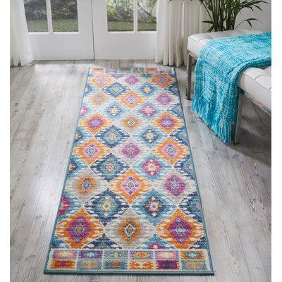 Bethesda Pink/Blue Indoor Area Rug Rug Size: Runner 22 x 76