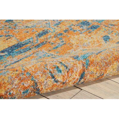 Shez Teal/Sun Indoor Area Rug Rug Size: 67 x 96