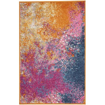 Bethesda Pink/Yellow Indoor Area Rug Rug Size: 67 x 96