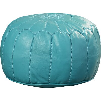 Carolos Pouf Leather Ottoman Upholstery: Turquoise