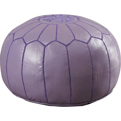 Carolos Pouf Leather Ottoman Upholstery: Purple