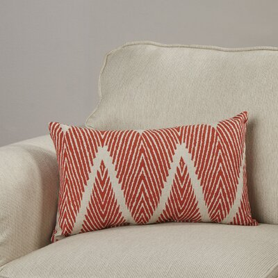 Cherita 100% Cotton Throw Pillow Color: Coral / Taupe, Size: 11.5 H x 23 W