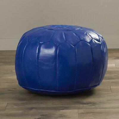 Carolos Pouf Leather Ottoman Upholstery: Navy Blue
