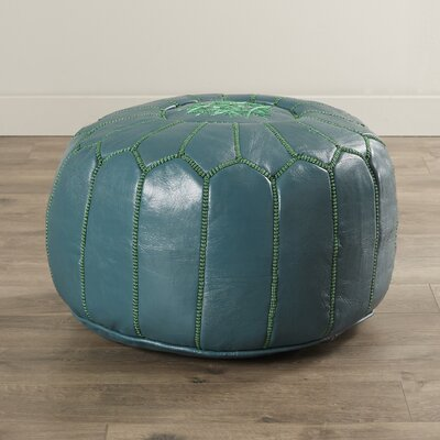 Carolos Pouf Leather Ottoman Upholstery: Teal