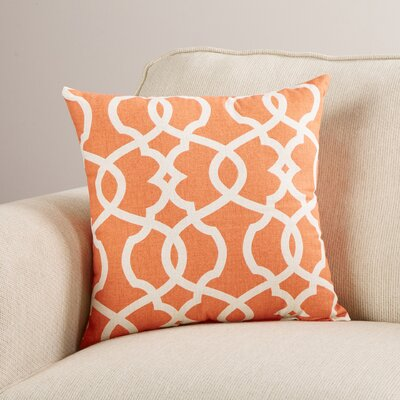 Brennan Damask Throw Pillow Size: 24.5 H x 24.5 W x 5 D, Color: Tangerine