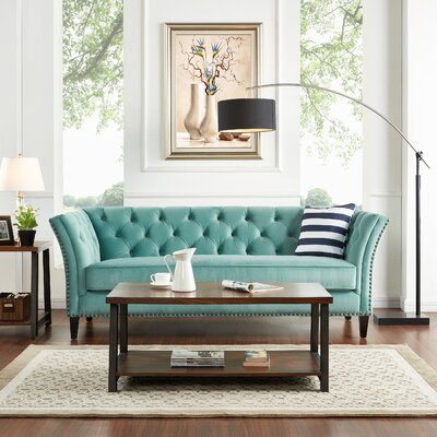 Gilmore Chesterfield Sofa Upholstery: Turquoise Blue