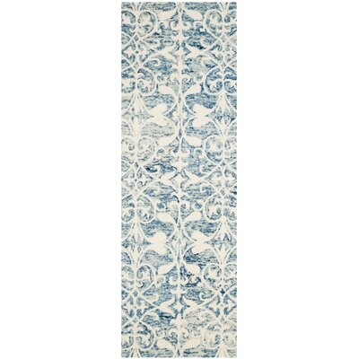 Greenmarket Hand-Tufted Dark Blue/Ivory Area Rug Rug Size: Runner 23 x 7