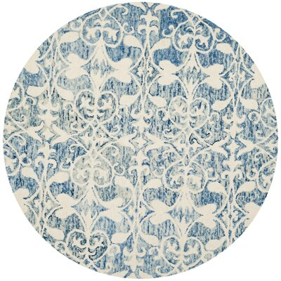 Greenmarket Hand-Tufted Dark Blue/Ivory Area Rug Rug Size: Round 5