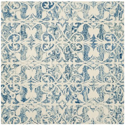 Greenmarket Hand-Tufted Dark Blue/Ivory Area Rug Rug Size: Square 5