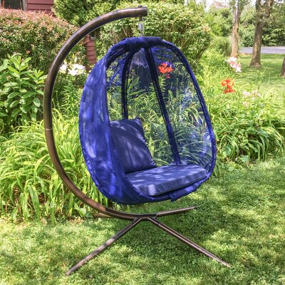 Egg Swing Chair with Stand Color: Blue