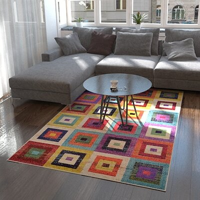 Lionel Blue/Purple Area Rug Rug Size: Rectangle 106 x 165