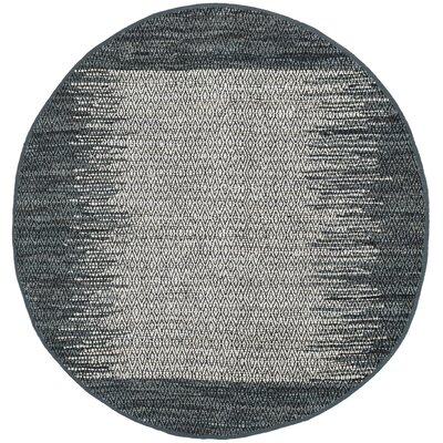 Logan Geometric Hand-Woven Light Gray Area Rug Rug Size: Round 6