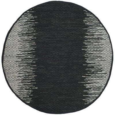 Logan Hand-Woven Light Grey/Black Area Rug Rug Size: Round 6
