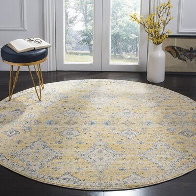 Ameesha Mustard/Ivory Area Rug Rug Size: Round 67