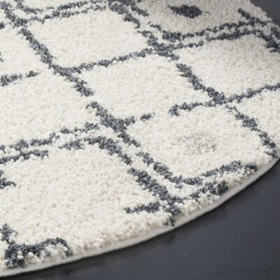 Mangual Cream/Navy Area Rug Rug Size: Round 51