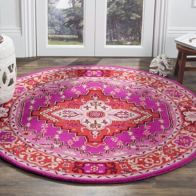 Blokzijl Hand-Tufted Wool Red Area Rug Rug Size: Round 5