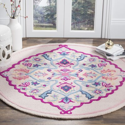 Blokzijl Hand-Tufted Light Pink Area Rug Rug Size: Round 5 x 5