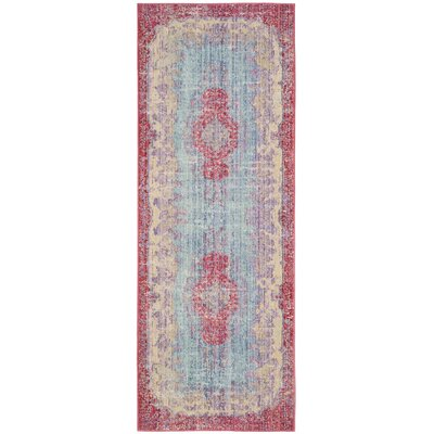 Bangou Light Blue/Fuchsia Area Rug Rug Size: 3 x 8