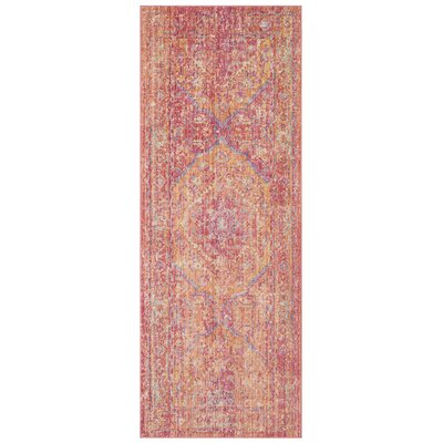 Bangou Pink Area Rug Rug Size: Runner 3 x 12