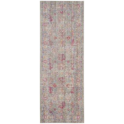Bangou Gray/Fuchsia Area Rug Rug Size: 3 x 8