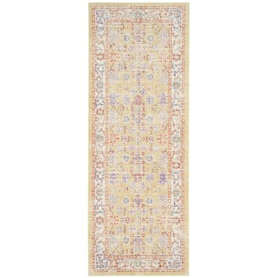 Bangou Yellow & Gold Area Rug Rug Size: Runner 3 x 12