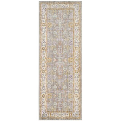 Bangou Gray/Cream Area Rug Rug Size: Rectangle 3' x 8'