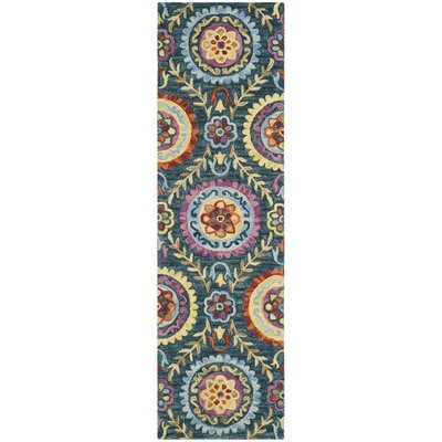 Tomo Hand-Hooked Blue/Yellow Wool Area Rug Rug Size: Runner 23 x 8