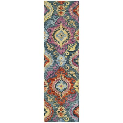 Tomo Hand-Hooked Blue/Yellow Area Rug Rug Size: Runner 23 x 8