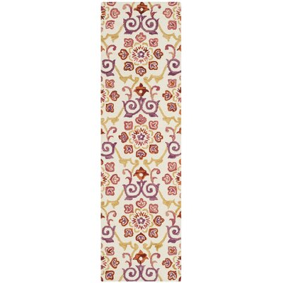 Tomo Hand-Hooked Ivory/Rust Area Rug Rug Size: Runner 23 x 8