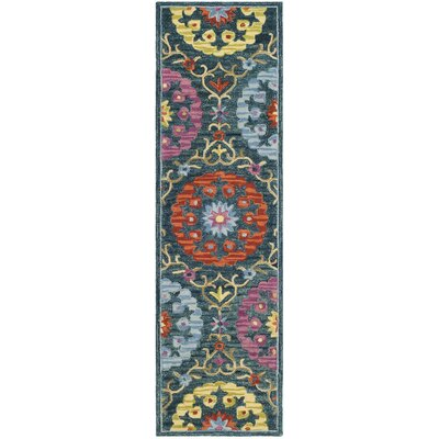 Suzani Hand Hooked Blue/Yellow Area Rug Rug Size: Runner 23 x 8