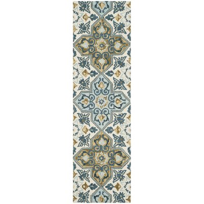 Tomo Hand-Hooked Ivory/Blue Area Rug Rug Size: Runner 23 x 8
