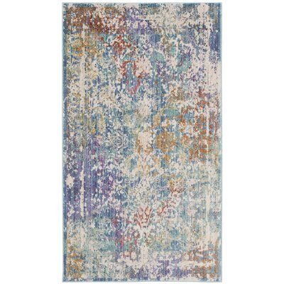 Mellie Green/Beige/Purple Area Rug Rug Size: 3 x 5