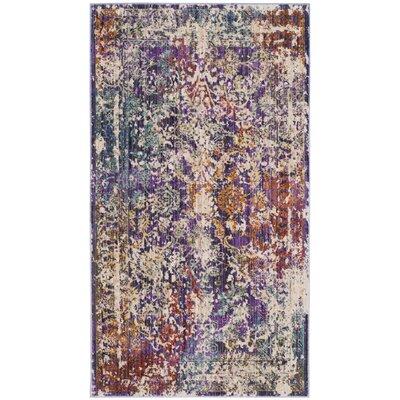 Mellie Purple/Beige Area Rug Rug Size: 3 x 5