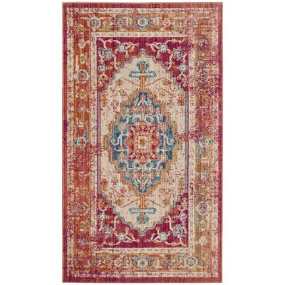 Mellie Red/Blue/Beige Area Rug Rug Size: 3 x 5