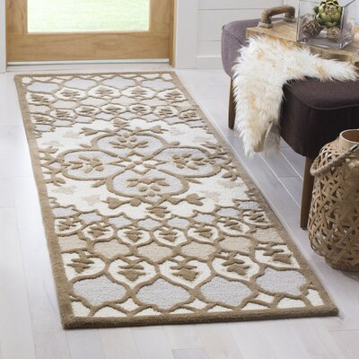 Bellagio Hand-Tufted Ivory/Dark Beige Area Rug Rug Size: 2 x 3