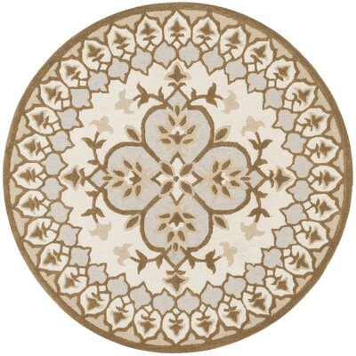 Bellagio Hand-Tufted Wool Ivory/Dark Beige Area Rug Rug Size: Round 5
