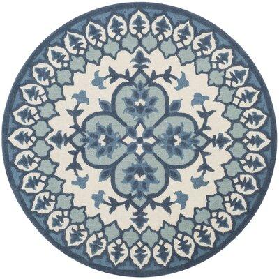 Blokzijl Hand-Tufted Wool Ivory/Blue Area Rug Rug Size: Round 5