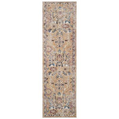 Hailey Camel/Blue Area Rug Rug Size: Runner 23 x 8